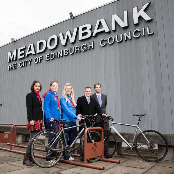 Glasgow 2014 Silver Medallists Welcome Falco Legacy Cycle Racks at Meadowbank Stadium!