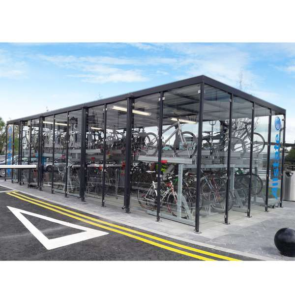 Shelters, Canopies, Walkways and Bin Stores | Shelters for Two-Tier Cycle Racks | Falco Cycle Hub | image #2 |  Cycle Hub