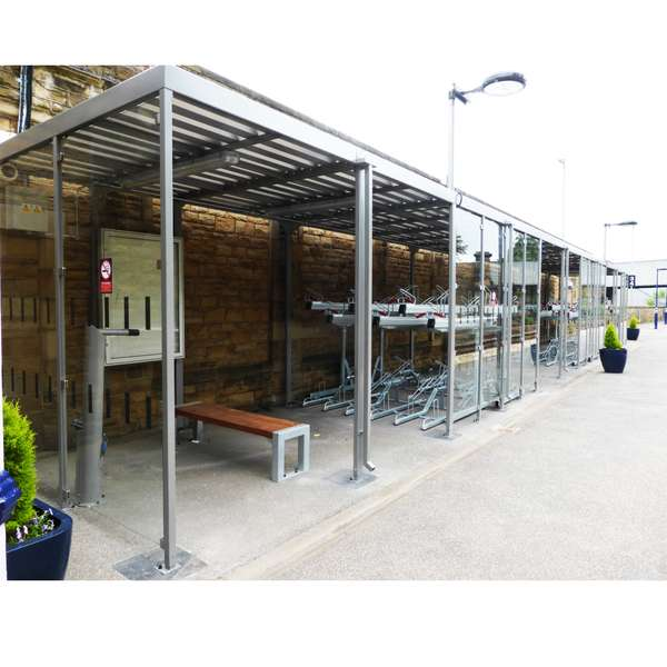 Shelters, Canopies, Walkways and Bin Stores | Shelters for Two-Tier Cycle Racks | Falco Cycle Hub | image #5 |  Cycle Hub Dewsbury Station