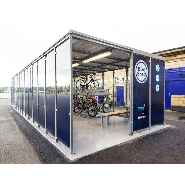 Shelters, Canopies, Walkways and Bin Stores | Shelters for Two-Tier Cycle Racks | Falco Cycle Hub | image #10 |  Cycle Hub Huddersfield Station