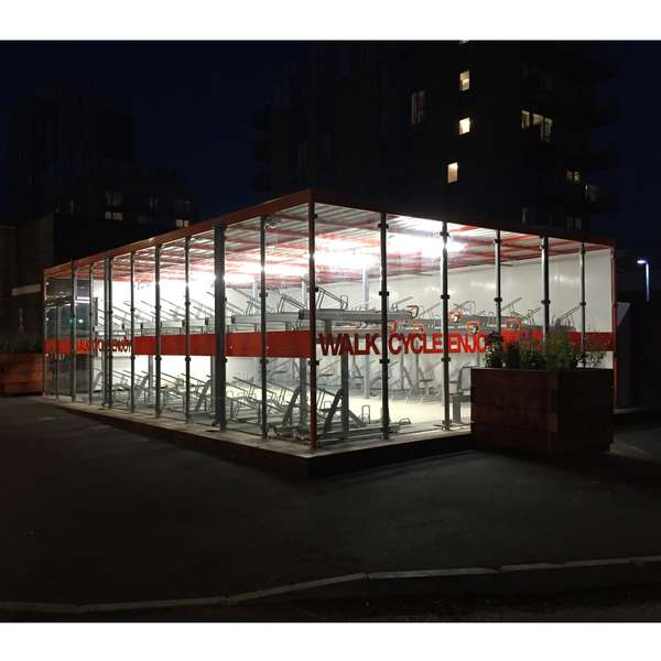 Shelters, Canopies, Walkways and Bin Stores | Shelters for Two-Tier Cycle Racks | Falco Cycle Hub | image #13 |  Cycle Hub at Night