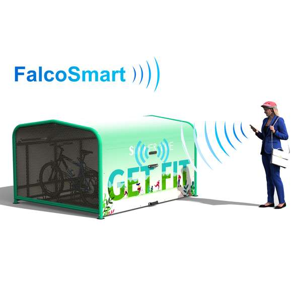 Shelters, Canopies, Walkways and Bin Stores | Cycle Shelters | FalcoPod Bike Hangar with Mobile App Access | image #1 |  FalcoSmart Mobile App Access