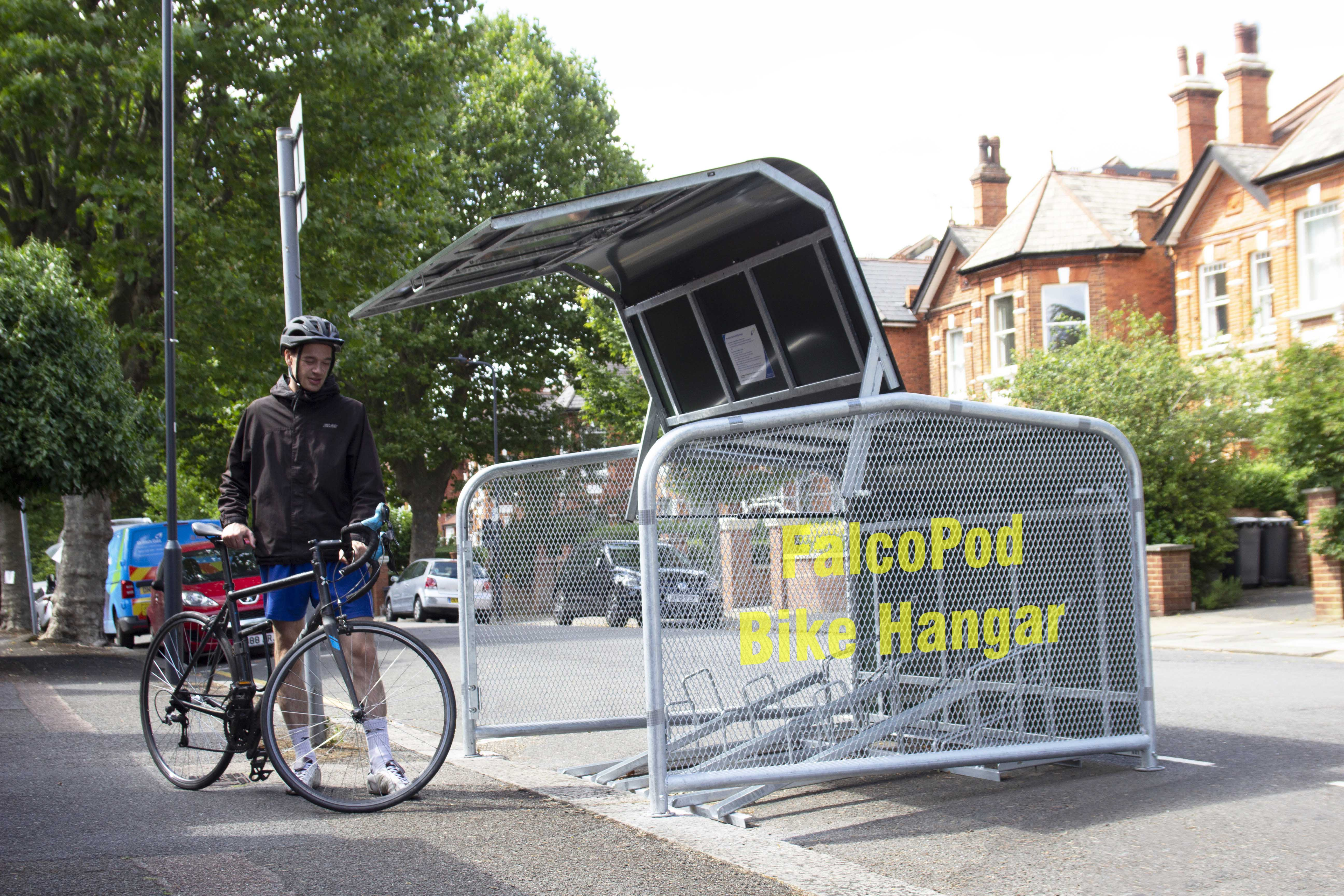 FalcoPod Bike Hangar Wording Concept on Cladding