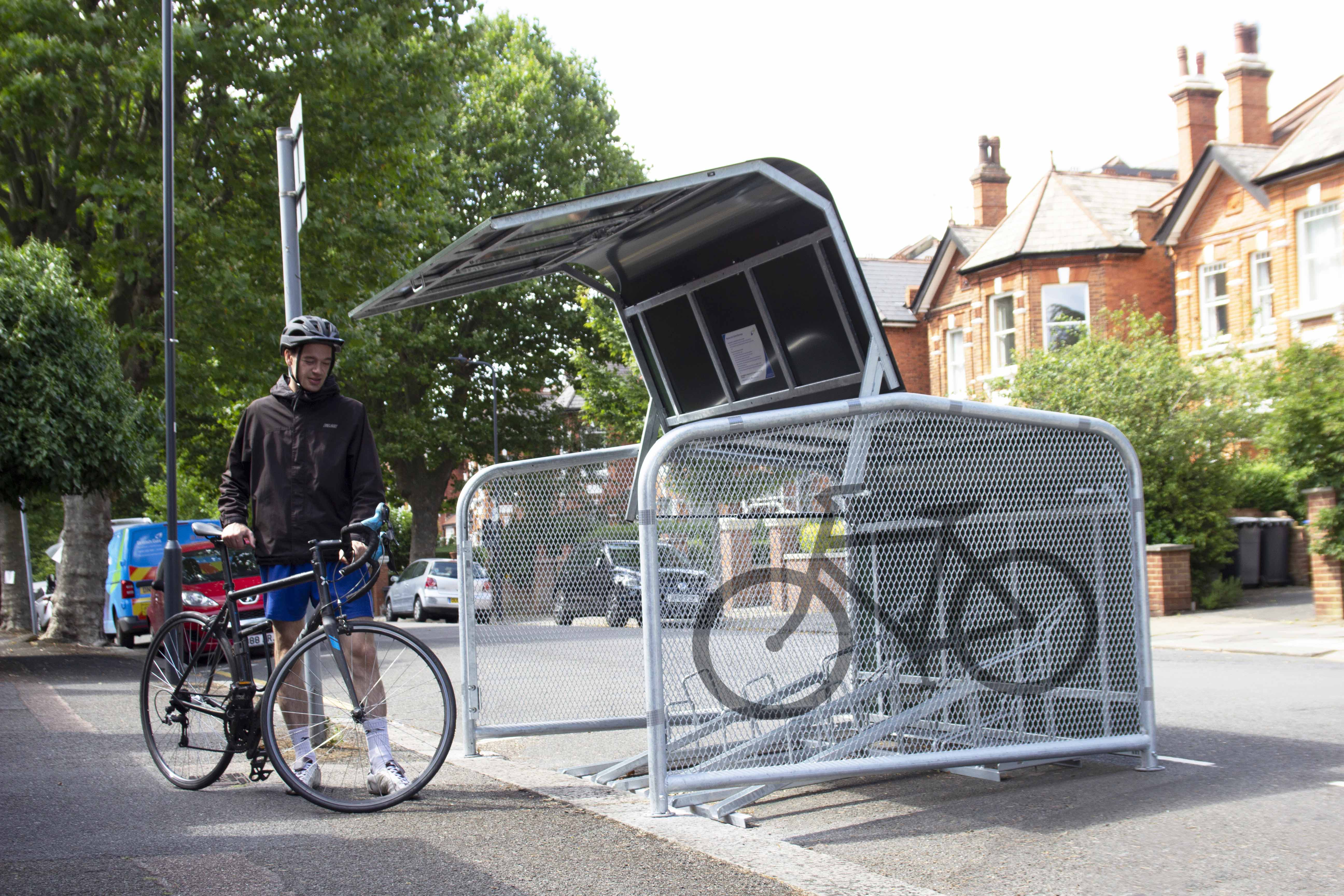 FalcoPod Bike Hangar with Stencil on Cladding